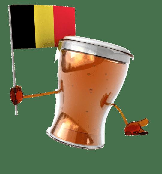Une Bière avec un drapeau belge dans les mains